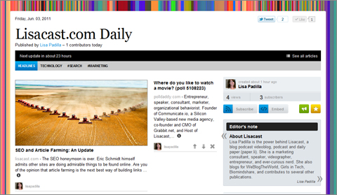 Lisacast.com begins publishing a webzine on Paper.li